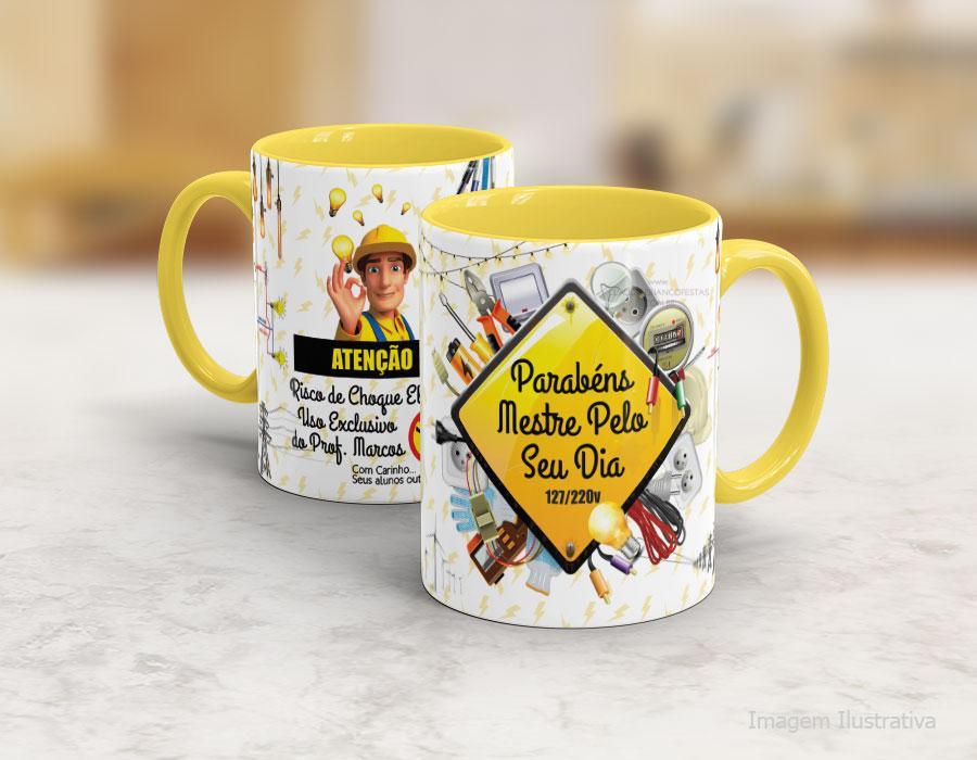 Caneca cerâmica com alça e interior em amarelo - Eletricista