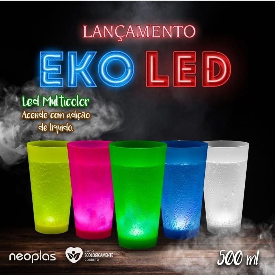 Copo Eco personalizado com LED, acionamento com adição de líquido de 500ml