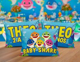 Almofada baby shark Tecido 100% Poliéster (microfibra) 30x20cm Personalizado Frente e Verso Sublimação