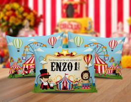 Almofada circo Tecido 100% Poliéster (microfibra) 30x20cm Personalizado Frente e Verso Sublimação