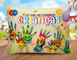 Almofada dia das crianças - mod01 Tecido 100% Poliéster (microfibra) 30x20cm Personalizado Frente e Verso Sublimação