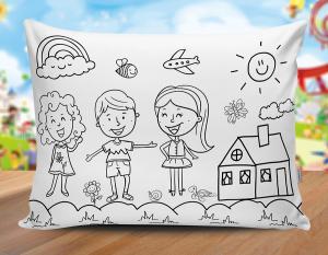 Almofada dia das crianças - mod07 Tecido 100% Poliéster (microfibra) 30x20cm Personalizado Frente e Verso Sublimação