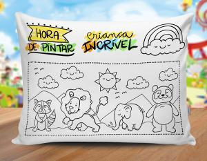 Almofada dia das crianças - mod09 Tecido 100% Poliéster (microfibra) 30x20cm Personalizado Frente e Verso Sublimação