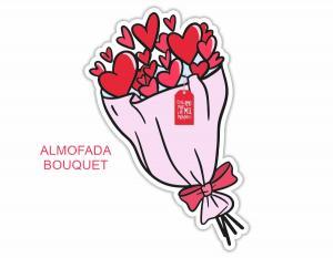 almofada dia dos namorados - bouquet flores coração Tecido 100% Poliéster (microfibra) 45cm altura Personalizado Frente e Verso Sublimação