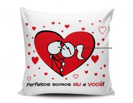 almofada dia dos namorados - casal perfeitos Tecido 100% Poliéster (microfibra) 33x30cm Personalizado Frente e Verso Sublimação