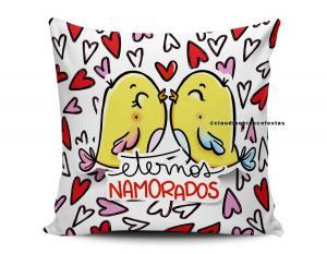 almofada dia dos namorados - eternos namorados Tecido 100% Poliéster (microfibra) 33x30cm Personalizado Frente e Verso Sublimação