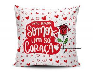 almofada dia dos namorados - meu amor somos um só coração Tecido 100% Poliéster (microfibra) 33x30cm Personalizado Frente e Verso Sublimação