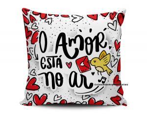 almofada dia dos namorados - o amor está no ar Tecido 100% Poliéster (microfibra) 33x30cm Personalizado Frente e Verso Sublimação