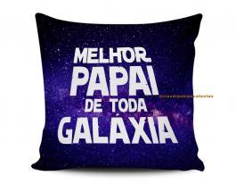 Almofada melhor pai de toda galáxia Tecido 100% Poliéster (microfibra) 33x30cm Personalizado Frente e Verso Sublimação