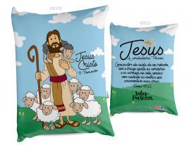 Almofada páscoa jesus o bom pastor Tecido 100% Poliéster (microfibra) 30x20cm Personalizado Frente e Verso Sublimação