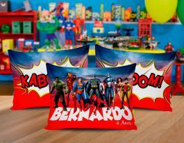 Almofada super heroes Tecido 100% Poliéster (microfibra) 30x20cm Personalizado Frente e Verso Sublimação