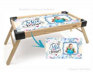Bandeja de café da manhã a melhor mãe sempre Bandeja madeira maciça de pínus   Bandeja personalizado com adesivo  Tramontina
