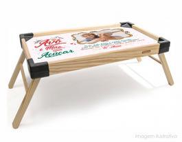 Bandeja de café da manhã avó é mãe com açúcar Bandeja madeira maciça de pínus   Bandeja personalizado com adesivo  Tramontina