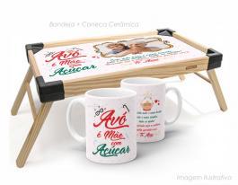 Bandeja de café da manhã + caneca avó é mãe com açúcar Bandeja madeira maciça de pínus   Bandeja personalizado com adesivo  Tramontina
