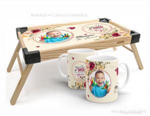 Bandeja de café da manhã + caneca espalhe amor por onde for Bandeja madeira maciça de pínus   Bandeja personalizado com adesivo  Tramontina