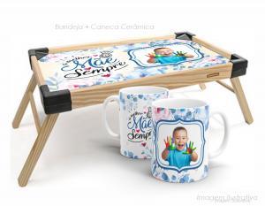 Bandeja de café da manhã + caneca a melhor mãe sempre Bandeja madeira maciça de pínus   Bandeja personalizado com adesivo  Tramontina