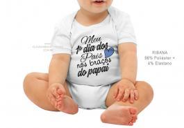 body infantil meu primeiro dia dos pais nos braços do papai Tecido ribana 96% poliéster + 4% elastano Estampa Colorida  Sublimação