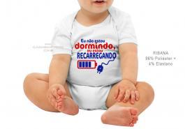 body infantil eu não estou dormindo, eu estou carregando... Tecido ribana 96% poliéster + 4% elastano Estampa Colorida  Sublimação