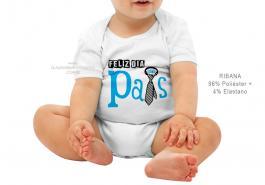 body infantil feliz dia dos pais Tecido ribana 96% poliéster + 4% elastano Estampa Colorida  Sublimação