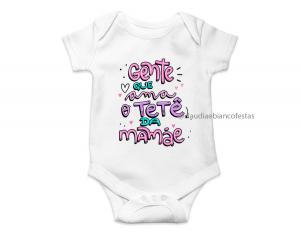 body infantil gente que ama o tetê da mamãe Tecido ribana 96% poliéster + 4% elastano Estampa Colorida  Sublimação