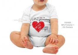 body infantil meu primeiro dia dos pais com meu papai Tecido ribana 96% poliéster + 4% elastano Estampa Colorida  Sublimação