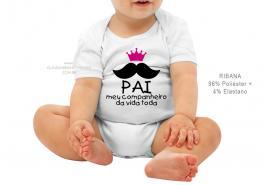body infantil pai meu companheiro da vida toda Tecido ribana 96% poliéster + 4% elastano Estampa Colorida  Sublimação
