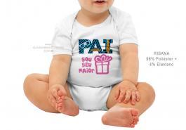 body infantil pai sou seu maior presente Tecido ribana 96% poliéster + 4% elastano Estampa Colorida  Sublimação