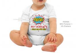body infantil papai meu herói nr. 1 Tecido ribana 96% poliéster + 4% elastano Estampa Colorida  Sublimação