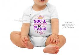 body infantil sou a princesa do papai Tecido ribana 96% poliéster + 4% elastano Estampa Colorida  Sublimação
