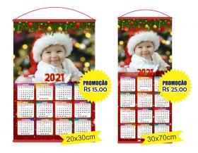 Calendário personalizado em tecido com foto 2021 Foto em altíssima qualidade 20x30cm | 30x70cm    Com suporte e cordinha
