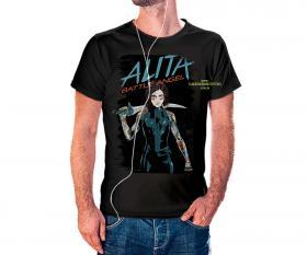 CAMISETA ALITA Tecido 100% Poliéster Estampa Colorida A3  Sublimação Camiseta na cor preta