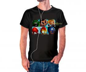CAMISETA BABY MARVEL Tecido 100% Poliéster Estampa Colorida A3  Sublimação Camiseta na cor preta