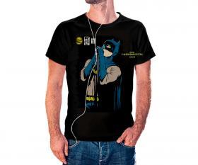 CAMISETA BATMAN CANTANDO Tecido 100% Poliéster Estampa Colorida A3  Sublimação Camiseta na cor preta