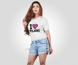 CAMISETA EU AMO PILATES 4 Tecido 100% Poliéster Estampa Colorida A3  Sublimação Camiseta na cor branca