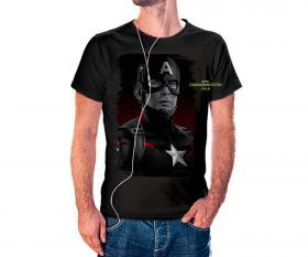 CAMISETA CAPITÃO AMERICA BLACK Tecido 100% Poliéster Estampa Colorida A3  Sublimação Camiseta na cor preta