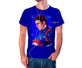 CAMISETA CAPITÃO AMERICA Tecido 100% Poliéster Estampa Colorida A3  Sublimação Camiseta na cor azul