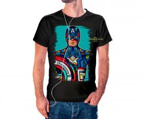 CAMISETA CAPITÃO AMERICA VITRAL Tecido 100% Poliéster Estampa Colorida A3  Sublimação Camiseta na cor preta