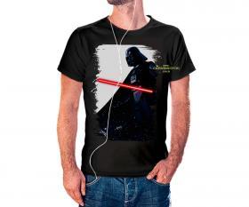 CAMISETA DARTH VADER Tecido 100% Poliéster Estampa Colorida A3  Sublimação Camiseta na cor preta