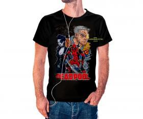 CAMISETA DEAD POOL Tecido 100% Poliéster Estampa Colorida A3  Sublimação Camiseta na cor preta