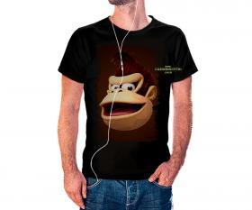 CAMISETA DONKEY KONG Tecido 100% Poliéster Estampa Colorida A3  Sublimação Camiseta na cor preta