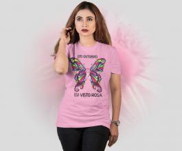 Camiseta em outubro eu visto rosa Tecido Poliéster Estampa Colorida A3  Sublimação