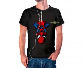 CAMISETA HOMEM ARANHA Tecido 100% Poliéster Estampa Colorida A3  Sublimação Camiseta na cor preta