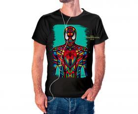 CAMISETA HOMEM ARANHA VITRAL Tecido 100% Poliéster Estampa Colorida A3  Sublimação Camiseta na cor preta