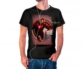 CAMISETA HOMEM DE FERRO Tecido 100% Poliéster Estampa Colorida A3  Sublimação Camiseta na cor preta
