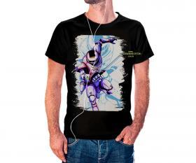 CAMISETA JASPION Tecido 100% Poliéster Estampa Colorida A3  Sublimação Camiseta na cor preta
