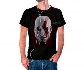 CAMISETA KRATOS Tecido 100% Poliéster Estampa Colorida A3  Sublimação Camiseta na cor preta