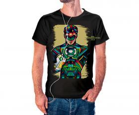 CAMISETA LANTERNA VERDE VITRAL Tecido 100% Poliéster Estampa Colorida A3  Sublimação Camiseta na cor preta