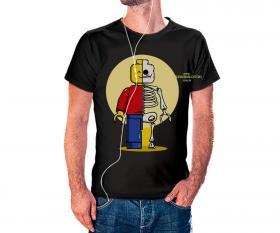 CAMISETA LEGO HEROES Tecido 100% Poliéster Estampa Colorida A3  Sublimação Camiseta na cor preta