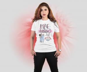 Camiseta mãe de autista Tecido Poliéster Estampa Colorida A3  Sublimação