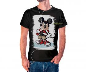 CAMISETA MICKEY Tecido 100% Poliéster Estampa Colorida A3  Sublimação Camiseta na cor preta